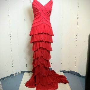 Carmen Marco Valvo 4 Red  100% silk layered gown